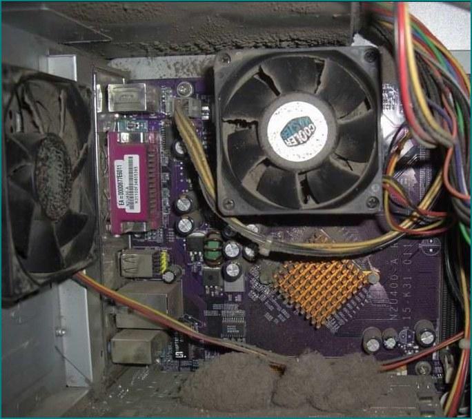 Заросший пылью компьютер - Грязный компьютер